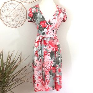 MAGGIE LONDON Coral and Gray Floral Wrap Dress